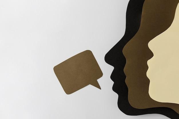 사람들의 얼굴로 흑인 생활 문제 개념