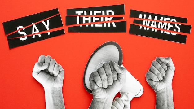 Black lives matter protesting concept