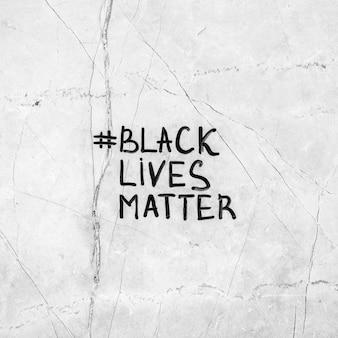 해시 태그와 함께 흑인 삶의 중요성