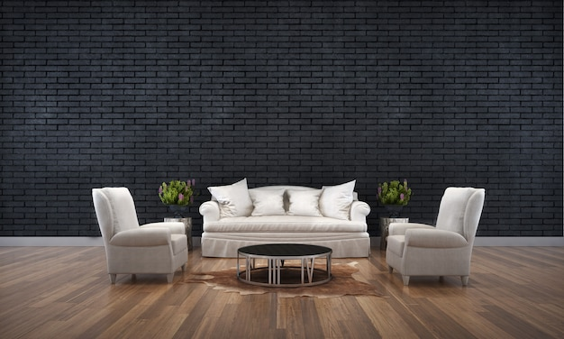 The black lliving room interior design and brick wall texture background