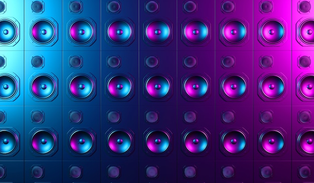Black loudspeaker on a black background in neon light, 3d illustration