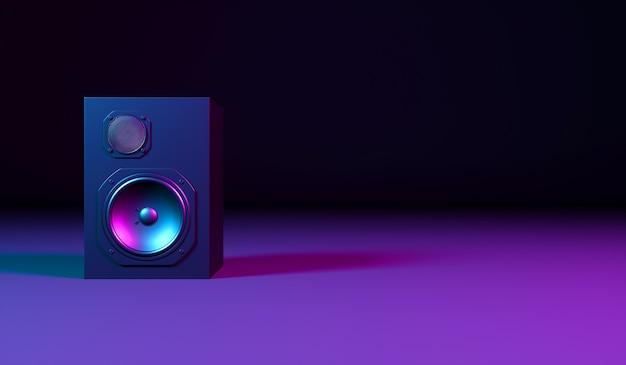 Черный динамик на черном фоне в неоновом свете, 3d иллюстрация
