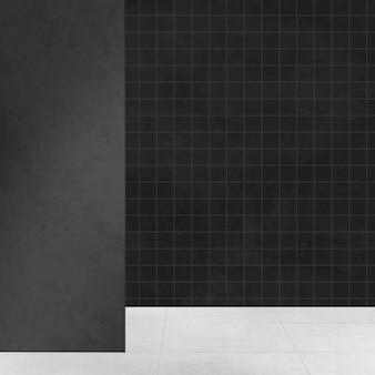 黒の豪華な空の部屋本物のインテリアデザイン