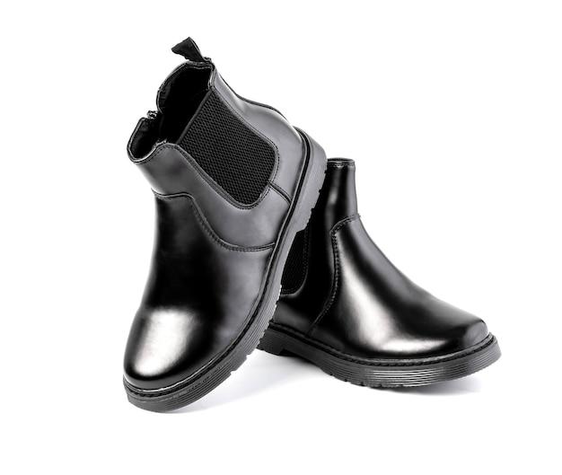 白い背景で隔離の黒の男性の革靴