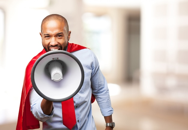 Black man hero angry expression Free Photo