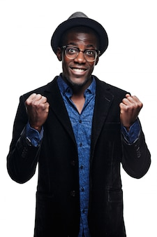 The black man with happy expression