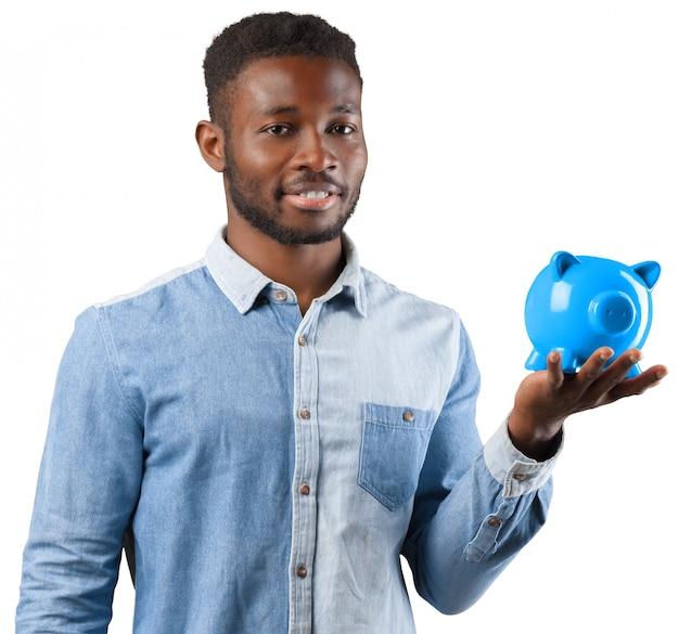 Black man with piggy bank.