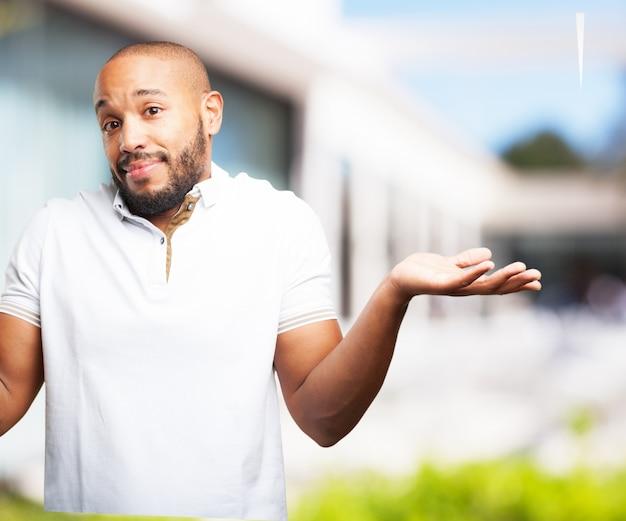 Black man worried expression