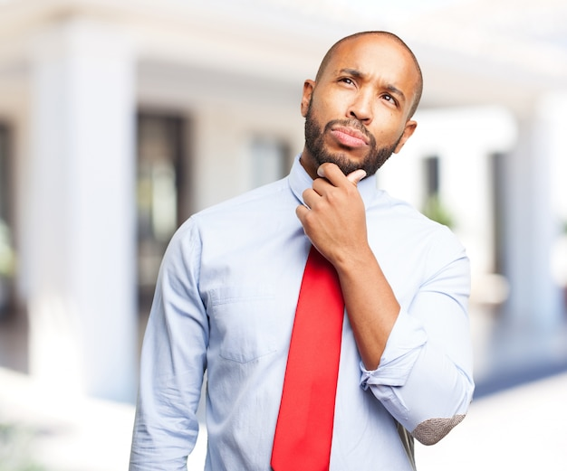 Black man worried expression