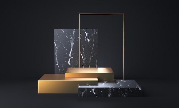 黒の背景に黒の大理石と金の台座があります。 3dレンダリング