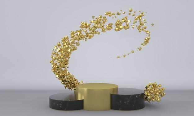 흰색 배경에 추상적인 황금 입자가 있는 검은색 대리석 및 금 연단 또는 받침대