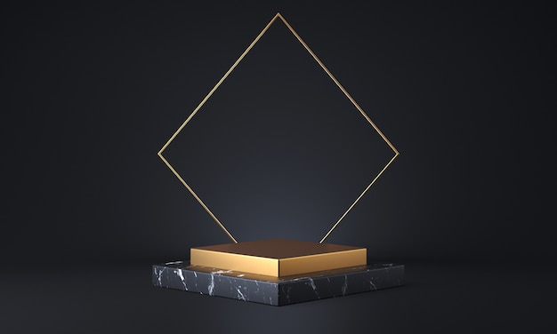 검은 색 대리석과 금색 제품 스탠드. 패션 쇼케이스 현대 개념. 추상 빈 무대 또는 받침대 3d 렌더링