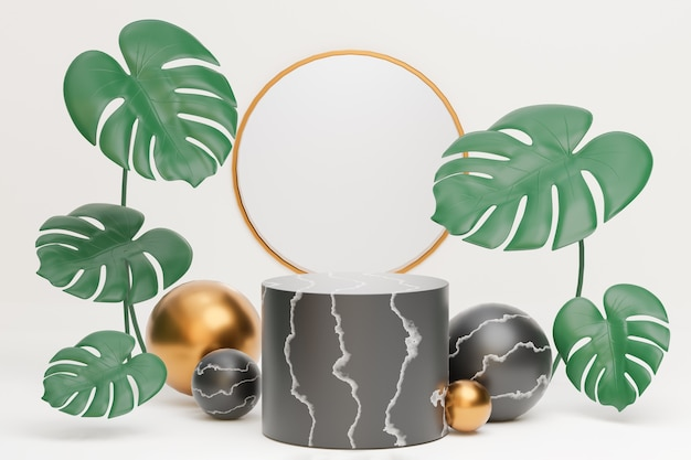 白い背景に金色のボールとモンステラ植物の葉と黒い大理石のシリンダー表彰台と金色のサイクルリング形の装飾。 3dイラストレンダリング画像。