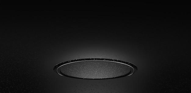 黒い大理石の床のテクスチャの背景と空のスペースの部屋の表彰台の台座のショーケースと空白の暗いスタジオのインテリアデザインの背景テンプレートの抽象的な豪華な製品のステージスタンドパターン。 3dレンダリング。