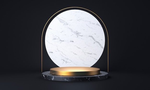 Black marble and gold product stand. fashion showcase modern concept. abstract empty stage or pedestal 3d rendering