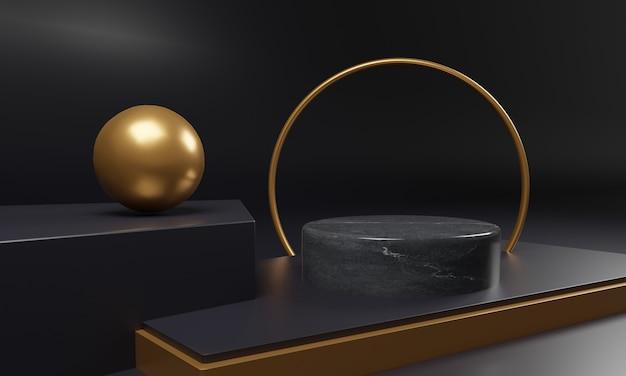金の幾何学的形状を持つ黒い大理石の台座モックアップ