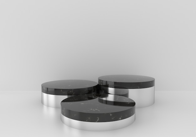 Black marble pedestals or podiums with chrome plated frames on white background