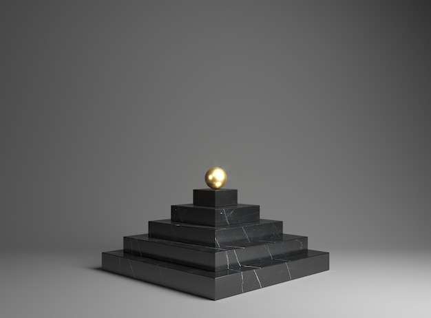 Black marble podium for the exhibition of goods