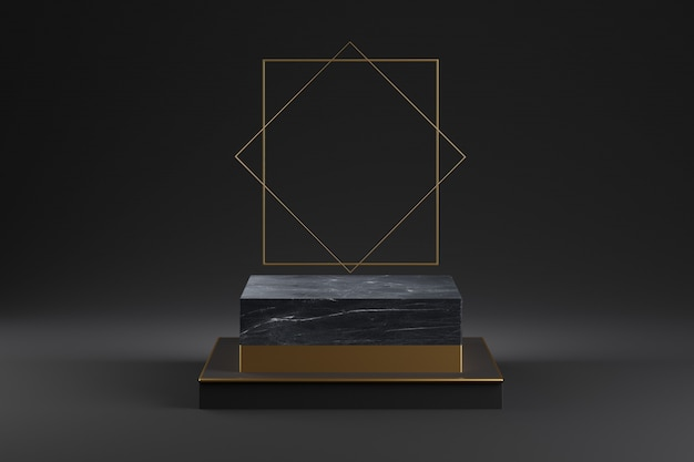 金の装飾が施された黒い大理石の表彰台のモックアップ