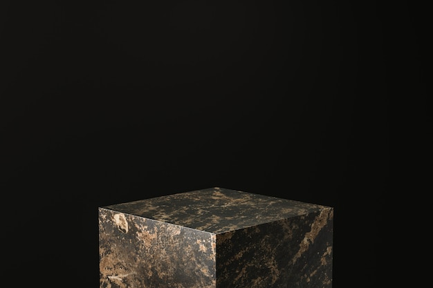 Black marble product display. empty pedestal podium for showing. 3d rendering.