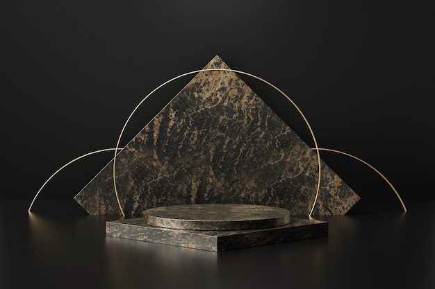 Black marble product display with geometric shapes. empty pedestal or podium. 3d rendering.