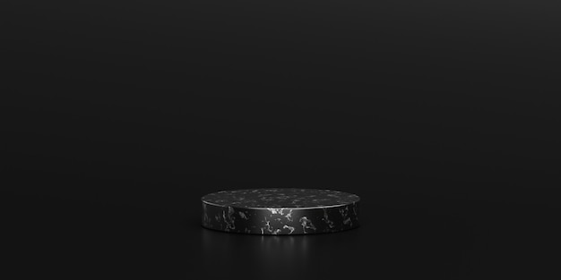 Black marble showcase product background stand or podium pedestal on dark display with luxury backdrops. 3d rendering.