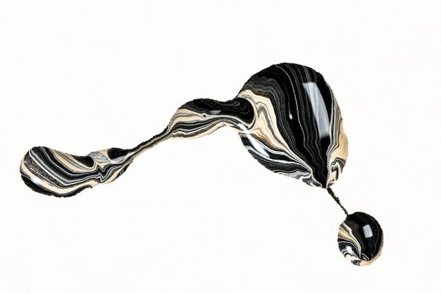 Marmo nero ricciolo estetico vernice acrilica elemento fatto a mano arte sperimentale
