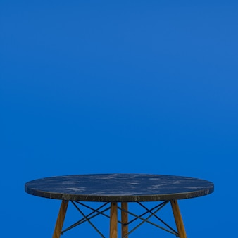 파란색 배경에 디스플레이 제품을위한 검은 대리석 테이블 또는 제품 스탠드