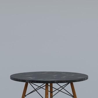 회색 배경에 디스플레이 제품을위한 검은 대리석 테이블 또는 제품 스탠드