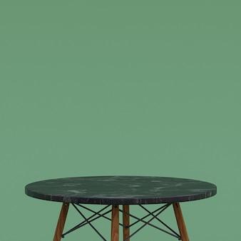 녹색 배경에 디스플레이 제품을위한 검은 대리석 테이블 또는 제품 스탠드
