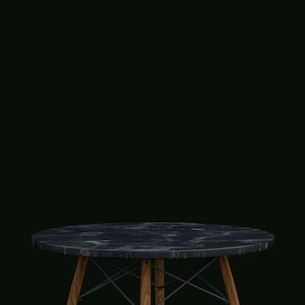 Black marble table or product stand for display product on black background