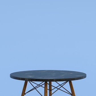 Black marble table or product stand for display product on blue background