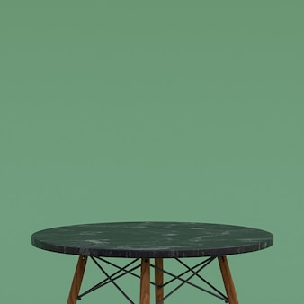 Black marble table or product stand for display product on green background
