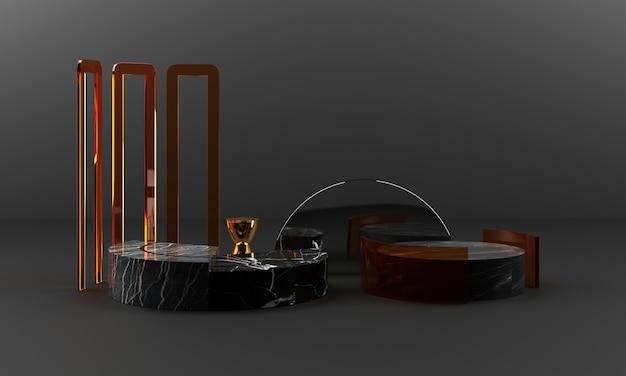 黒い大理石のテクスチャの幾何学的形状とカラーガラスオブジェクトグループセット3dレンダリングの抽象的なシーンの空白の表彰台とステンレスとゴールド