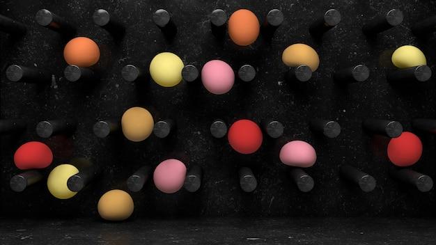 Черная мраморная стена, падают красочные мягкие шары. абстрактная иллюстрация, 3d-рендеринг.