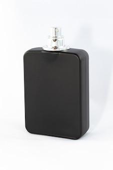 Black matte bottle of perfume for men on white background