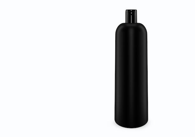 배경에서 분리 된 블랙 매트 샴푸 플라스틱 부 틀 모형 : 샴푸 플라스틱 부 틀 패키지 디자인. 빈 위생, 의료, 신체 또는 얼굴 관리 템플릿. 3d 그림