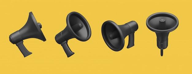 Черный мегафон на желтом
