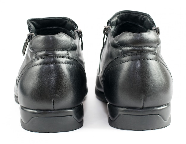 Black men's shoes from leather isolated on white.