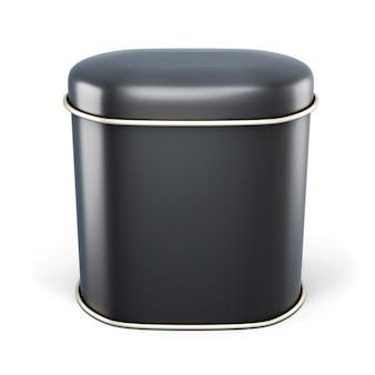 白で隔離される乾燥製品のための黒い金属バンク。