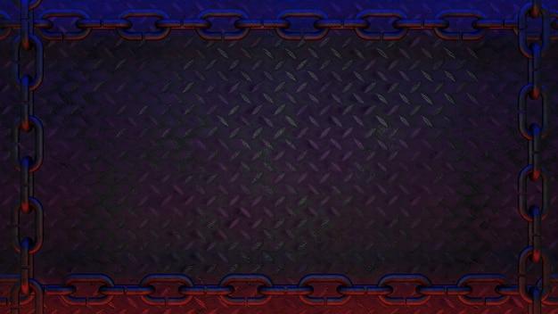 사슬 테두리가 있는 검은색 금속 다이아몬드 판 배경은 빨간색과 파란색 빛 3d 렌더로 장식됩니다.