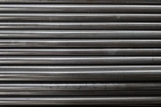 Black metal pipe steel sort stacked