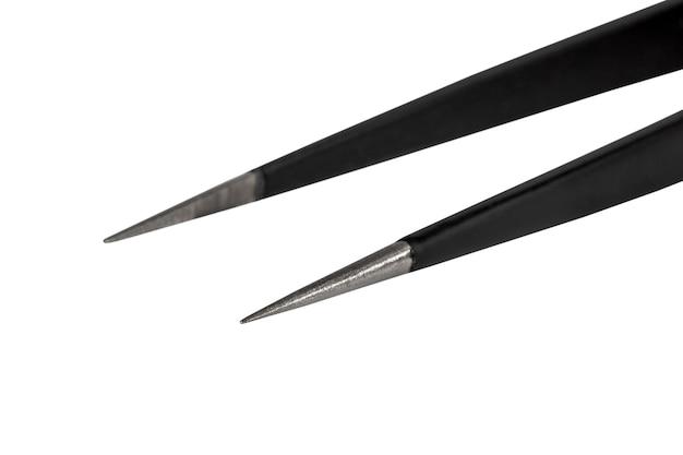 정전기 방지 코팅이 된 검은 금속 핀셋 그들은 의학 미용 패션 보석에 사용됩니다.