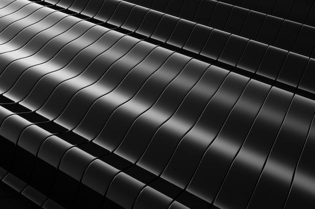 Черный металлический волнистый абстрактный фон.