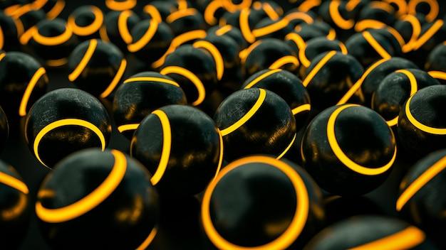 ネオンストライプの黒い金属の引っかき傷のあるボール