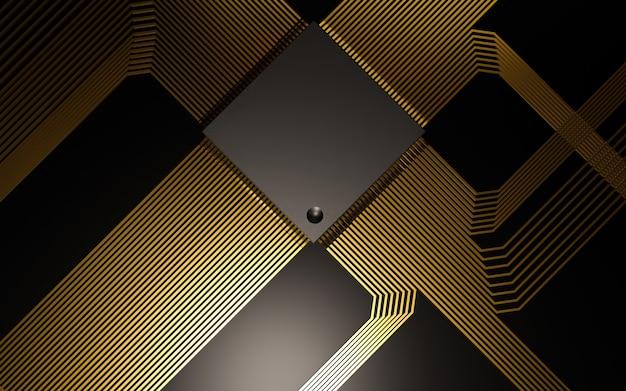 光沢のある金色の回路を備えた黒いマイクロチップ
