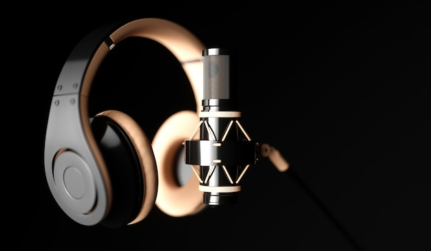 Black microphone on a black background close-up with headphones, 3d illustration