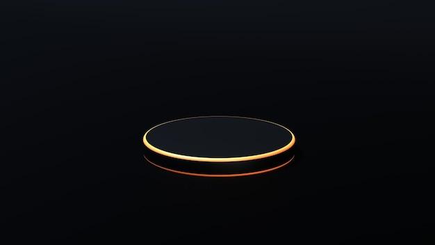 황금 네온 프리미엄 사진 3d 렌더링 그림이 있는 검은색 미니멀한 기하학적 플랫폼 연단