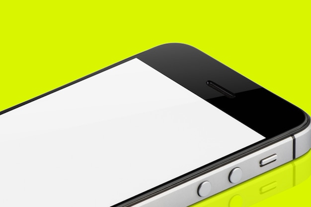 Black mobile phone isolated.