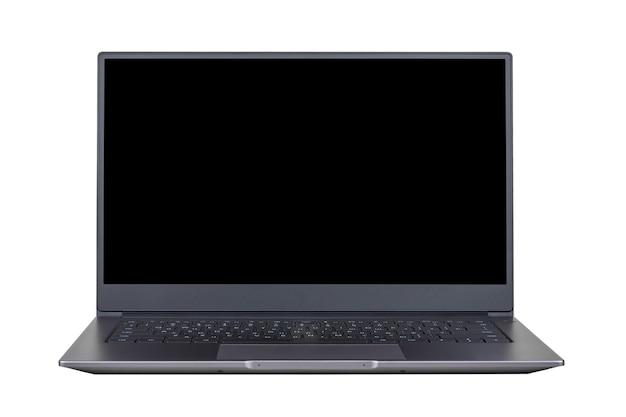 흰색 배경에 고립 된 노트북 화면에 검은 모의 전면보기를 닫습니다.